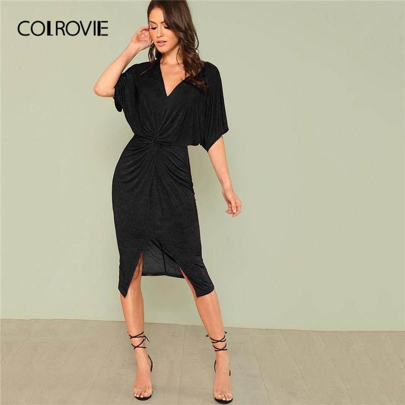 COLROVIE Black Solid V Neck Twist Split OL Elegant Kimono Dress Women 2019  Summer Stretchy Slim Half Sleeve Classy Midi Dresses b849a73eb901