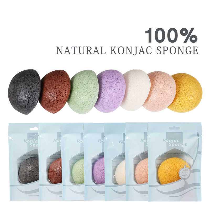 100% Natural Konnyaku Konjac Facial Puff Face Cleanse Washing Sponge Exfoliator Cleansing Sponge Puff Facial Cleanser