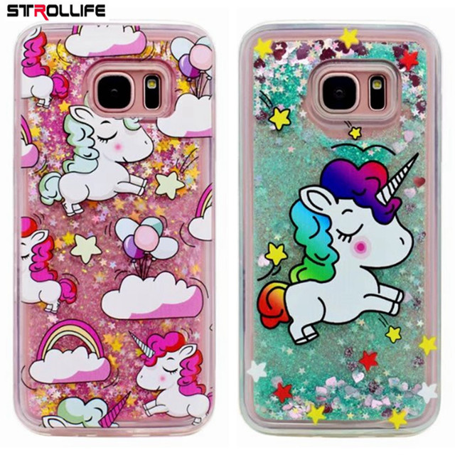 separation shoes 0b8a4 8349e US $2.33 22% OFF|Cute Cartoon Unicorns Dynamic Liquid Glitter Silicone  Cover Phone Case For Samsung Galaxy S6 S7 edge S8 Plus Note 4 Note 5  Note8-in ...