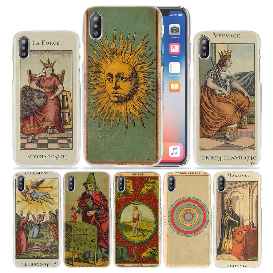 Thẻ Bài Tarot Đọc Dành Cho iPhone XS Max XR X 10 7 7S 8 6 6S Plus 5 5S SE 5 4S 5C 11 Pro Cứng PC Cao Cấp Funda Bao Bọc Điện Thoại Coque