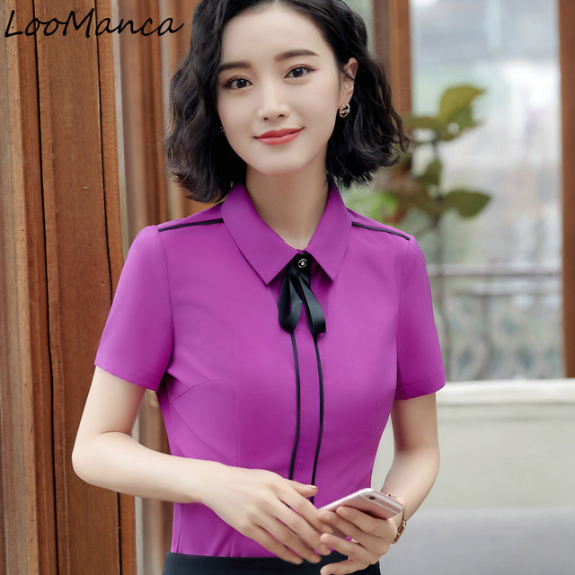 8521db97039e79 2018 New Elegant Women Blouse OL Formal Short Sleeve Shirt Female career  Office Shirts Plus Size Work wear Tops Lady Blusas