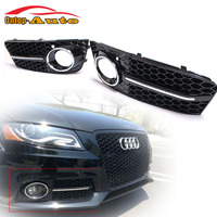 Replacement RS4 Sline Gloss Black Front Bumper Fog Lamp Light Cover Grille for Audi A4 B8 Avant 2008 2012