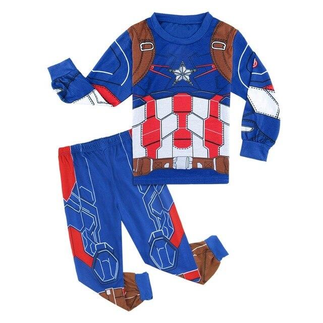 41a02f542c Funnny Kids Boy Pyjamas Winter Children Superhero American Captain Costume  Pijamas Clothing Set Child Sleepwear Longsleeve3