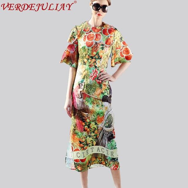 Woman Casual Dresses 2019 Spring New Fashion fruit Print Half Flare Sleeve  Mid-Calf Sheath European Style Vacation Split Dress 83d6ffda5