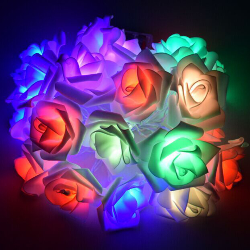 Con pilas 2M / 3M / 4M / 5M / 10M Roses Flower LED String Lights - Iluminación de vacaciones