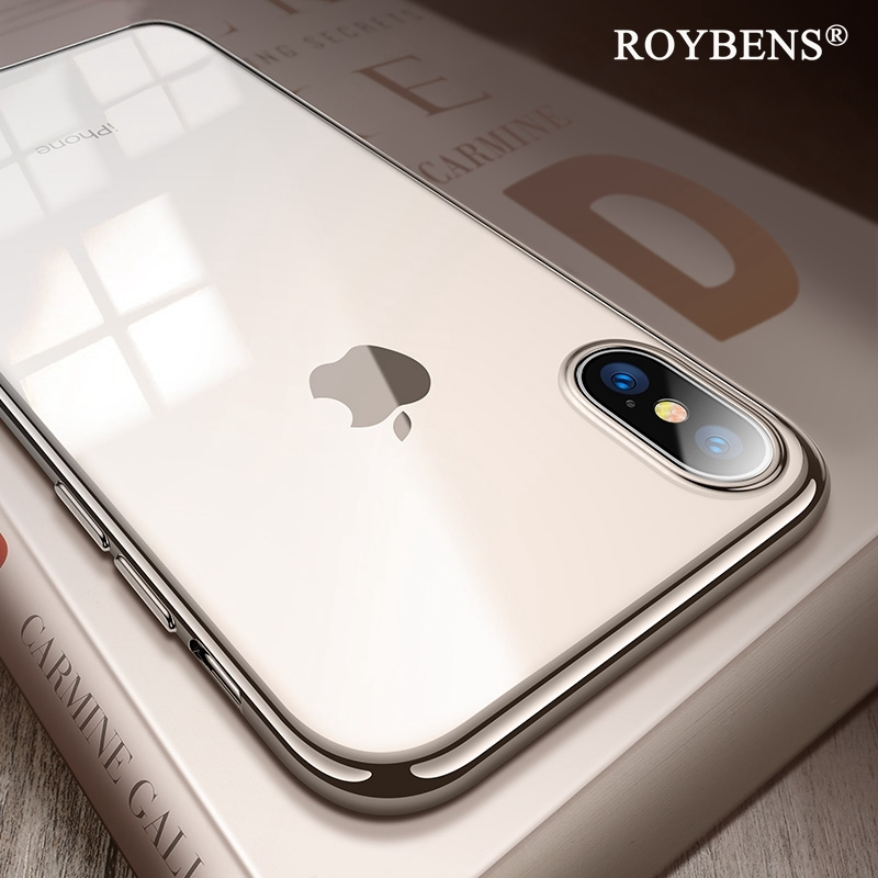 Fashion Original View Case For iPhone X XS Max Silver Edge Transparent Clear Back Cover For iPhone X XR Soft Silicone TPU Case silver