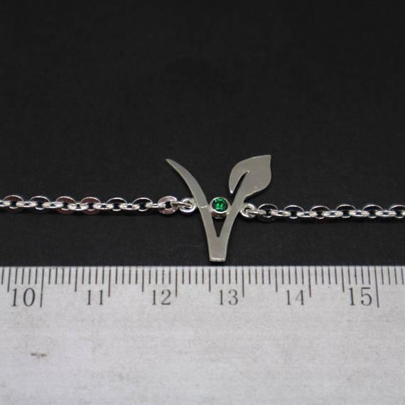 Vegan Bracelet Jewelry Green Stone Vegetarian Symbol Bracelets Gift For Birthday Housewarming YLQ0654 In Bangles From