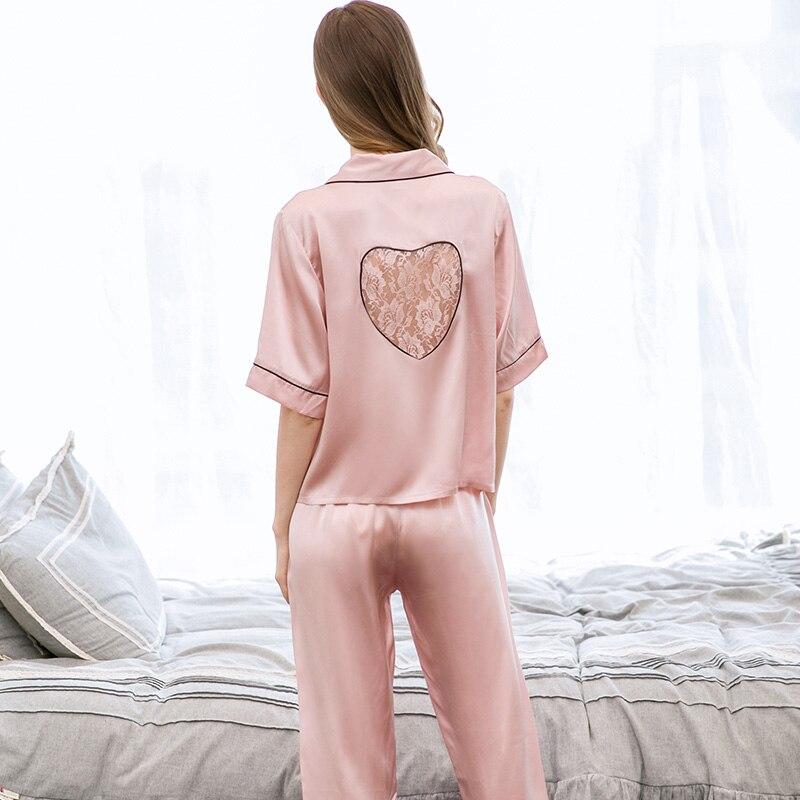 Femmes 100% soie loisirs porter pyjamas ensemble 2019 vêtements de nuit de salon pour dames chemise de nuit pyjamas naturel Pure soie chemise de nuit ensembles - 4