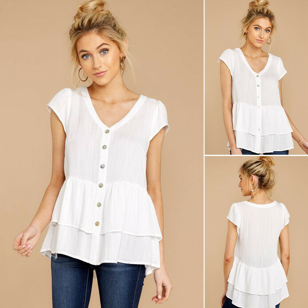 Women Blouse Fashion Short Sleeve White Top Cotton Button Blouses Ladies Summer V-neck Shirts Tee Top Elegant