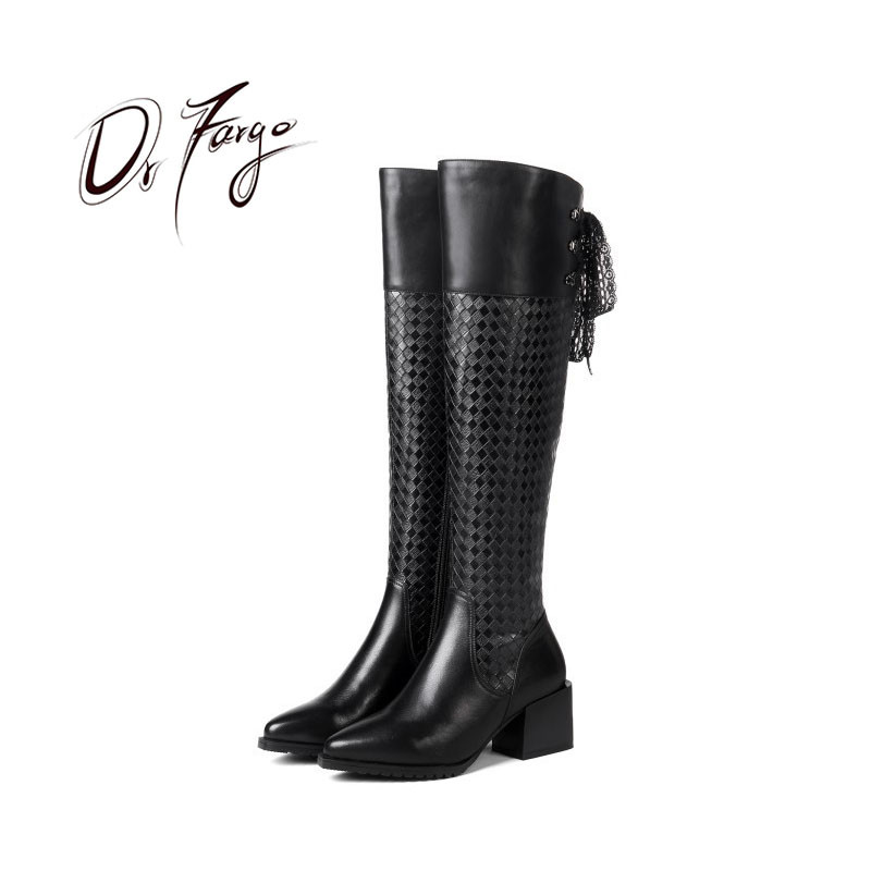 DRFARGO Shoes Women Spring Autumn Overknee Boots Genuine Leather Square Heel Pointed Toe Zipper Boots Lace up size 41 ChaussureDRFARGO Shoes Women Spring Autumn Overknee Boots Genuine Leather Square Heel Pointed Toe Zipper Boots Lace up size 41 Chaussure