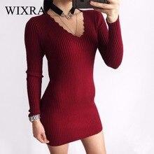 Wixra 2017 осень-зима женские модные, пикантные v-образным вырезом Платья-свитеры женский с длинным рукавом вязаное платье однотонные обтягивающие мини-платье