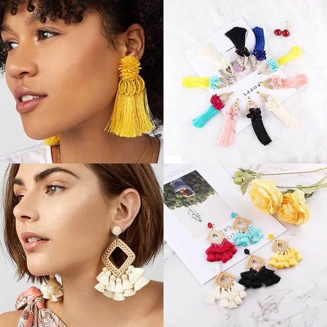 Boho Handmade Tassel Fringes Earrings