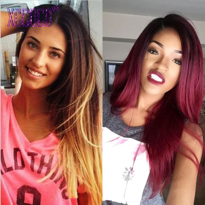 3 Tone 7A Ombre Human Hair Extensions T1B/4/27 Red Ombre Brazilian Hair Straight 3pcs Virgin Blonde Brazilian Hair Weave Bundles