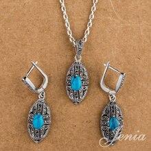 Jenia marca Silver Vintage Retro piedra de la turquesa de la joyería de encanto aretes marcasita y los sistemas del collar XS157