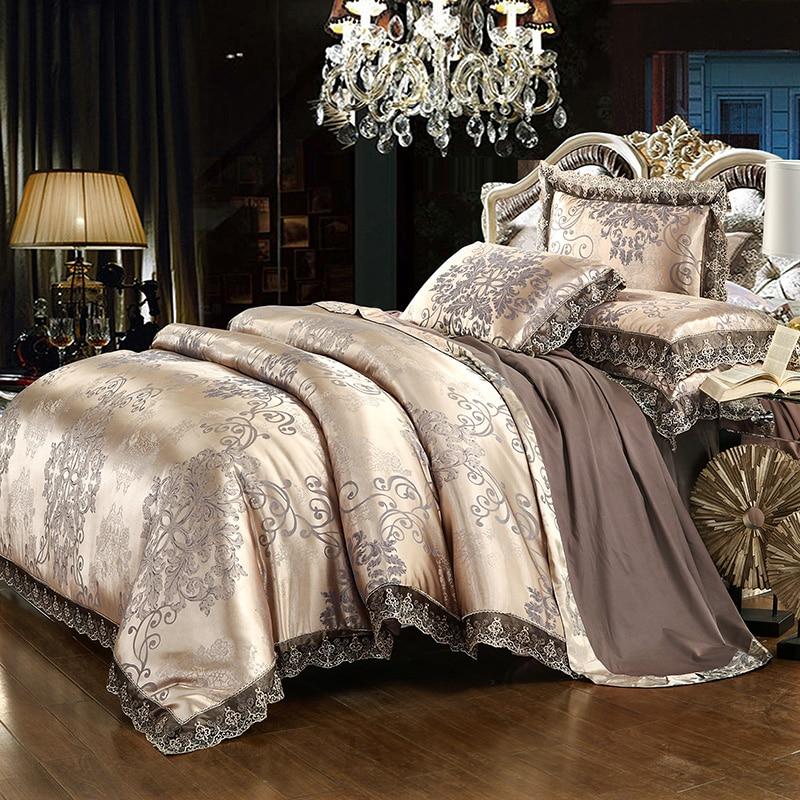 Luxury lace jacquard bedding blue beige silver gold color satin bedding set queen king size 4/6pcs duvet cover bed sheet set36
