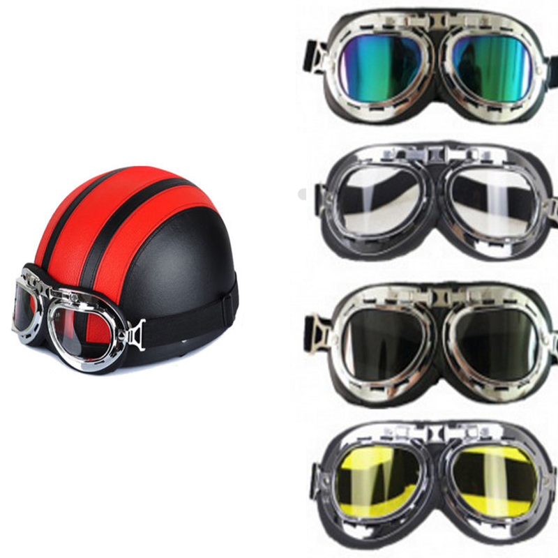 Vintage Motorcycle Glasses Helmet Goggles Pilot Aviator PU Leather Copper for Harley Cruiser Chopper Cafe Racer Triumph in Motorcycle Glasses from Automobiles Motorcycles