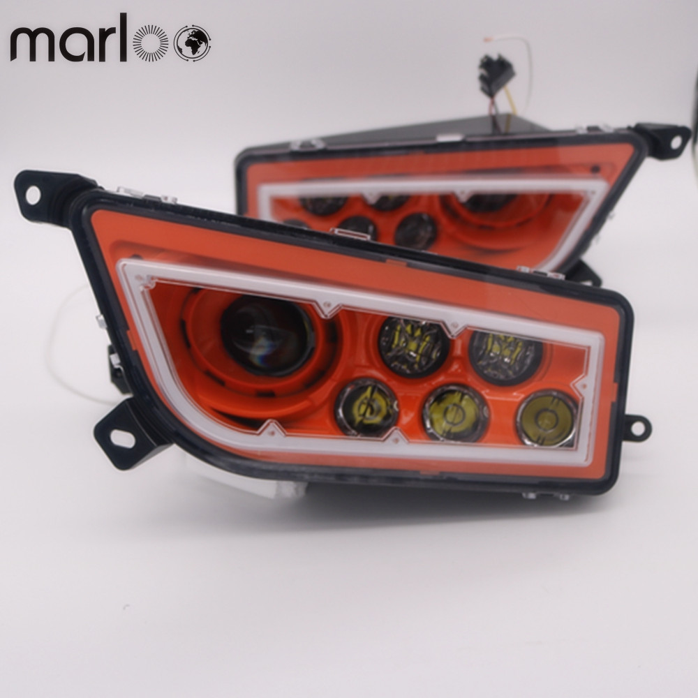 Marloo ATV UTV часть 16 18 Polaris общие 1000 & RZR1000 и Turbo оранжевый красный зеленый синий светодиод Ангел глаз фары Conversion Kit