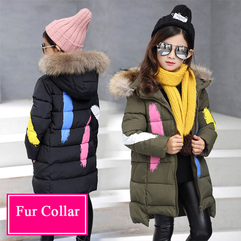 Teenage Girls Winter Coat Down Jacket for Girsl Clothes Kids Coats Print Warm Thick Fur Collar Hooded Children's Park Cotton 12T women winter coat jacket 2017 hooded fur collar plus size warm down cotton coat thicke solid color cotton outerwear parka wa892