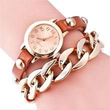 Chain Wrap Bracelet Girl Watch Studded Belt Stainless Steel Shell  Quartz Watch love wrap bracelet quartz watch