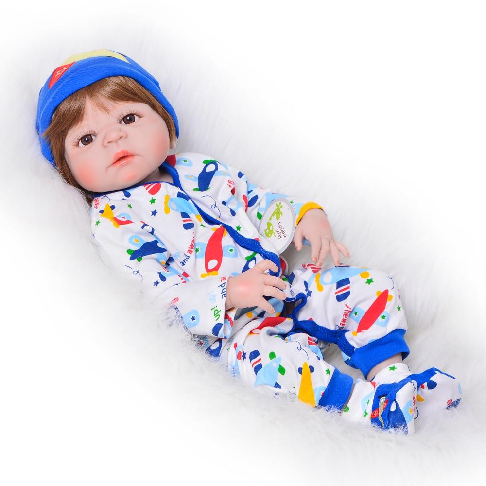 Lifelike 23 Inch Reborn Baby Doll 57 Cm Full Silicone Vinyl Menino Reborn Realistic Newborn Babies For Boys Kid Holiday Present
