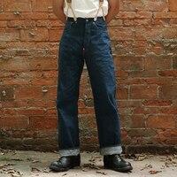 2018 Для мужчин s джинсы кромки 1910 s 12,5 унц. джинсовые штаны для Для мужчин осень зима Винтаж Высокая Талия Свободные Комбинезоны прямо Жан UNWASH