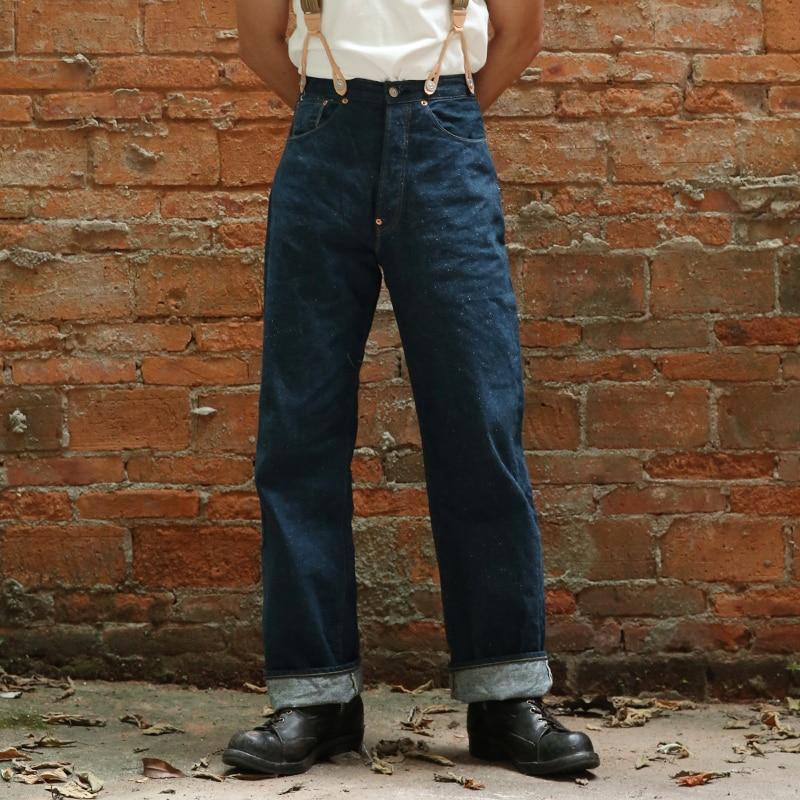 2019 Mens Jeans Selvage 1910s 12.5oz Denim Pants For Men Autumn Winter Vintage High Waist Loose Overalls Straight Jean UNWASH