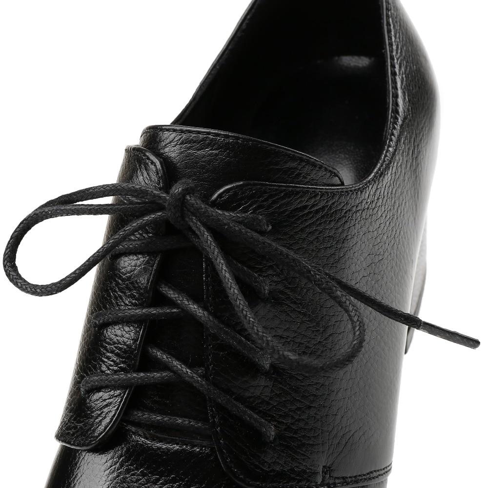 Couleur Style Chaussures Med La green Ol Vente Dentelle Qualité Confortable Femmes Haute up Cuir Talon Plus 33 Taille De 40 Véritable 3 Pompes En brown Talons Black Zf5qw