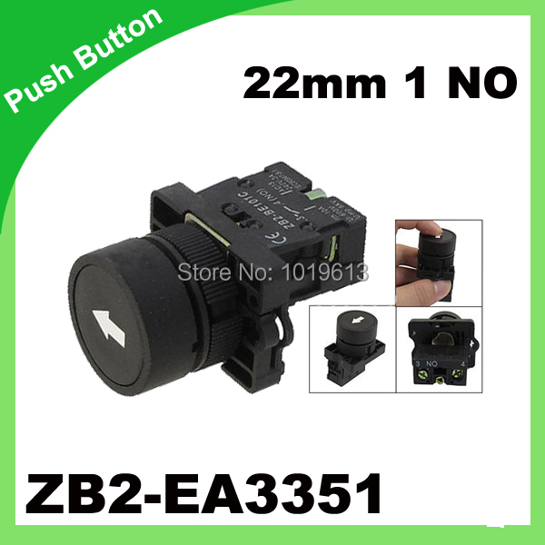 ZB2-EA3351 22mm 1 NO N/O Black Sign Momentary Push Button Switch 600V 10A