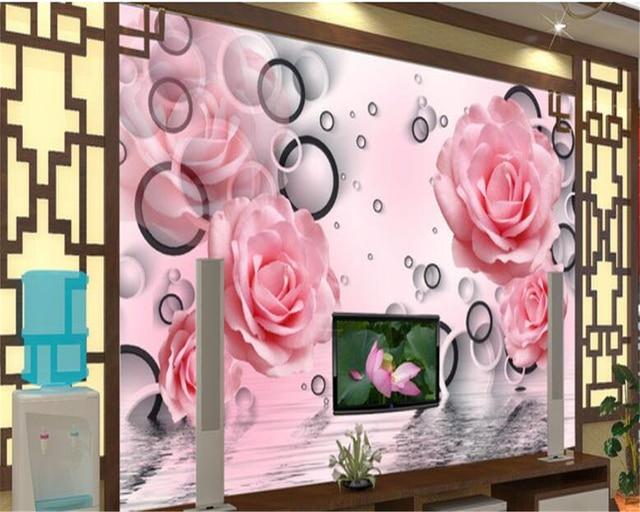 beibehang TV Living Room Background Wall 3d Wallpaper Pink Rose ...