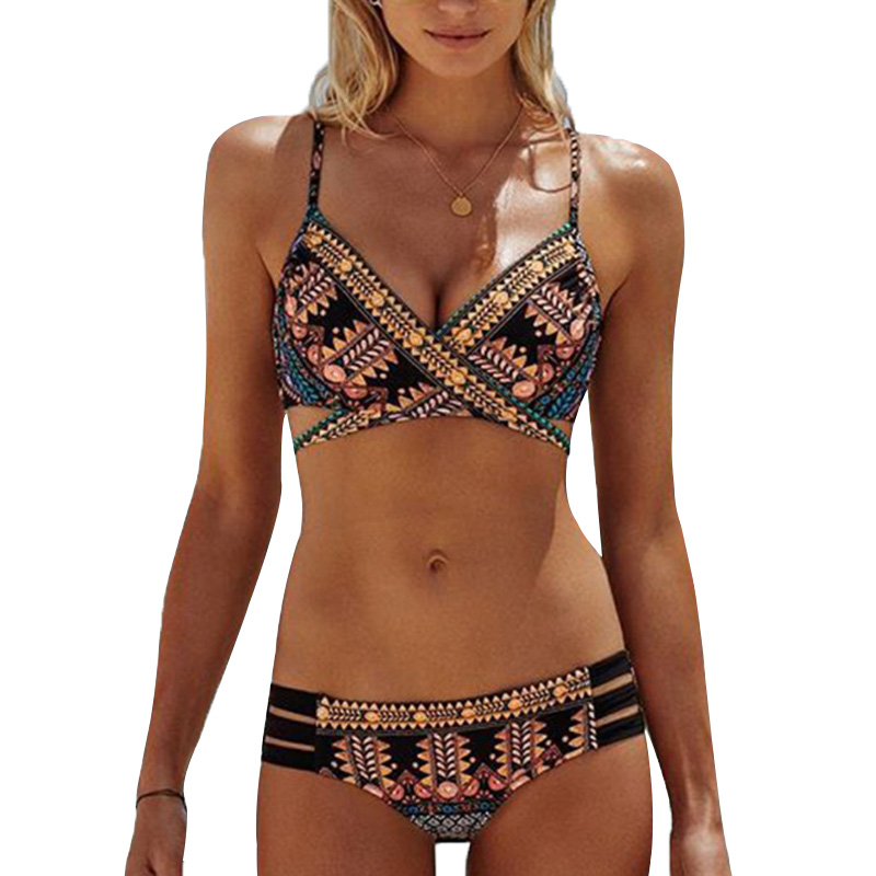 Retro Printed Criss Cross Sexy Bikini Set For Women Maio Feminino Praia Vintage Swimsuit Female Swimwear Beach Wear Bathing Suit tie side criss cross front bikini set
