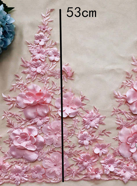 Matériau à main en dentelle brodée   Luxueuse en perles de Satin à trois dimensions 1 mètre pouvant être utilisée pour robe RS1156