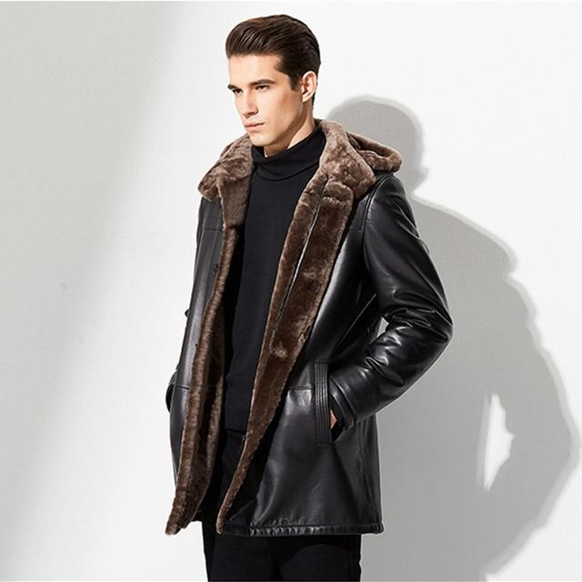 New Style Men's Sheepskin Shearling Coat Men Mid Long Genuine ...