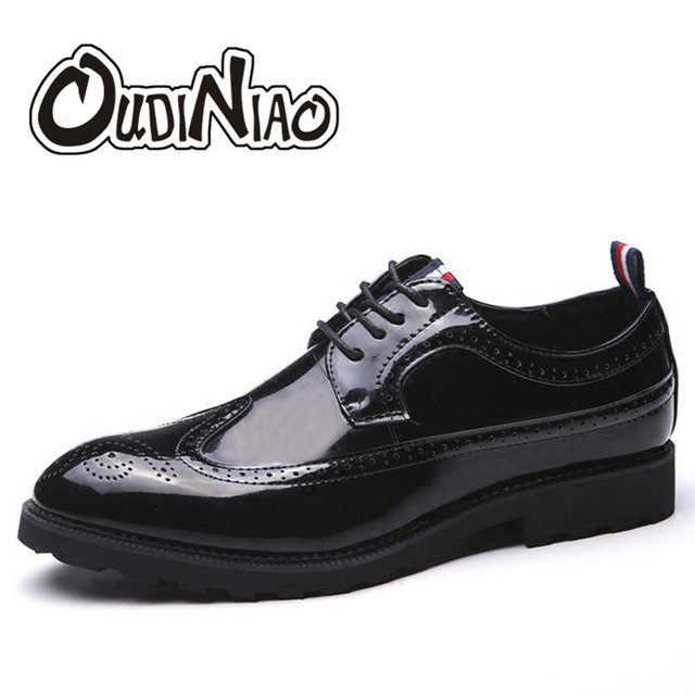 3758ea3a6e45 US $41.63 | OUDINIAO Mens Shoes Large Sizes Lace Up Black Luxury Vintage  Casual Shoes Men Brogues Big Size Fashions Classic Dress Men Shoes-in Men's  ...