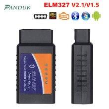 PANDUK ELM327 1.5V teşhis tarayıcı araba Bluetooth Escaner Obd2 2.1V araç teşhis aracı Android otomotiv tarayıcı 2019