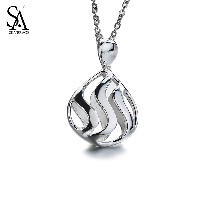 SA SILVERAGE Necklace Silver Hollow Pendant For Women Sterling 925 Silver Chain Necklace Fine Jewelry Gift Women Accessories