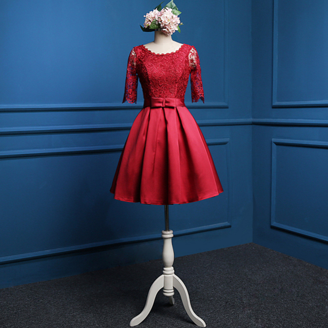 Burgundy Nude Pink Fashion Scoop Neck Half Sleeve Lace Taffeta Cocktail Dress 2017 Knee Length Party Dress