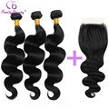 10 12 14 16 18 20 22 24 26 inches Hair 3 pcs with 1 Closure Chinese Body Wave Genuine Raw Human Hair Little to no Shedding Hair