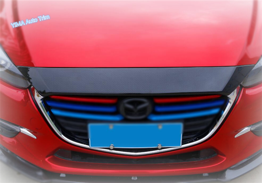 Lapetus For Mazda 3 AXELA Hatchback Sedan 2017 2018 ABS Car Styling Front Engine Hood Bonnet Grille Grill Bumper Cover Trim for mazda 3 axela hatchback sedan 2014 2015 2016 abs high quality air conditioning ac control switch cd panel cover trim 1 pcs