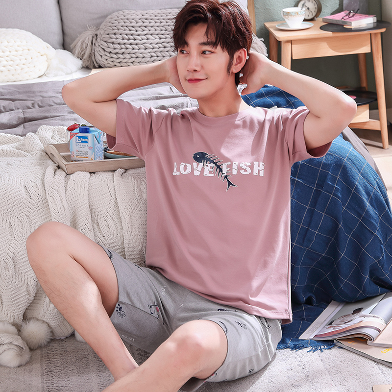 Summer Mens Pyjama Short Sleeve Male Pajama Set Pure Full Cotton Letter Pajama For Men Sleepwear Suit Homewear Big Size XXXL