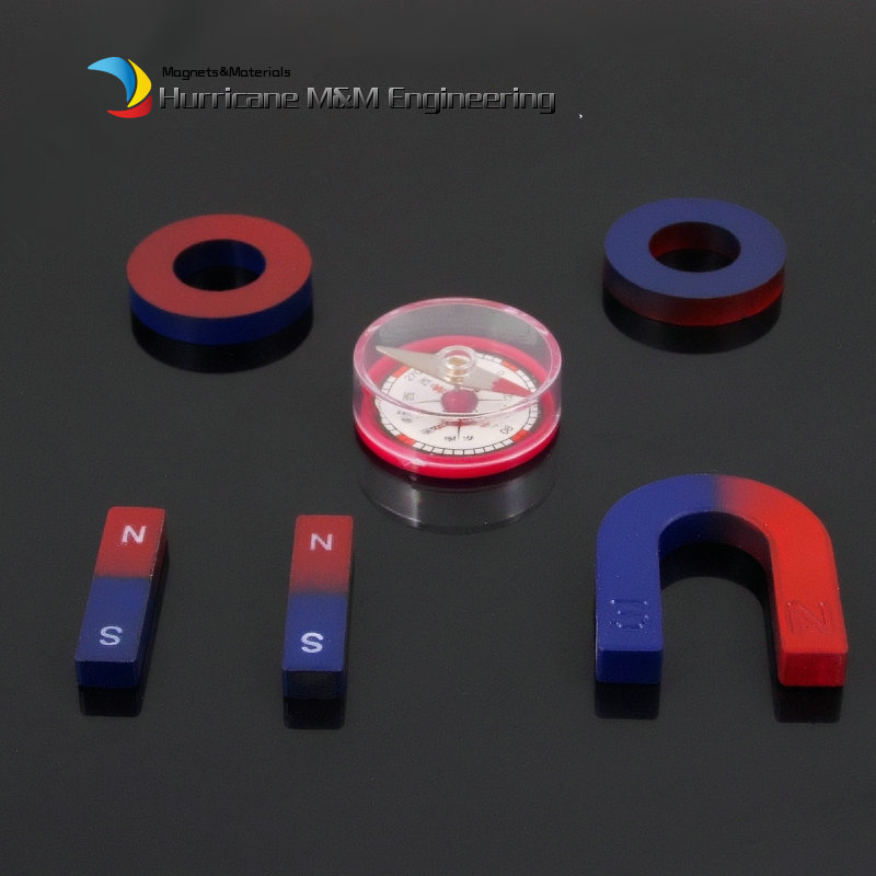 2 Sets Ferrite Magnet Experiment Magnets Kit Bar U and Ring with Compass blue red / Toy magnet Magnetic Teaching Tool nicuzn ferrite