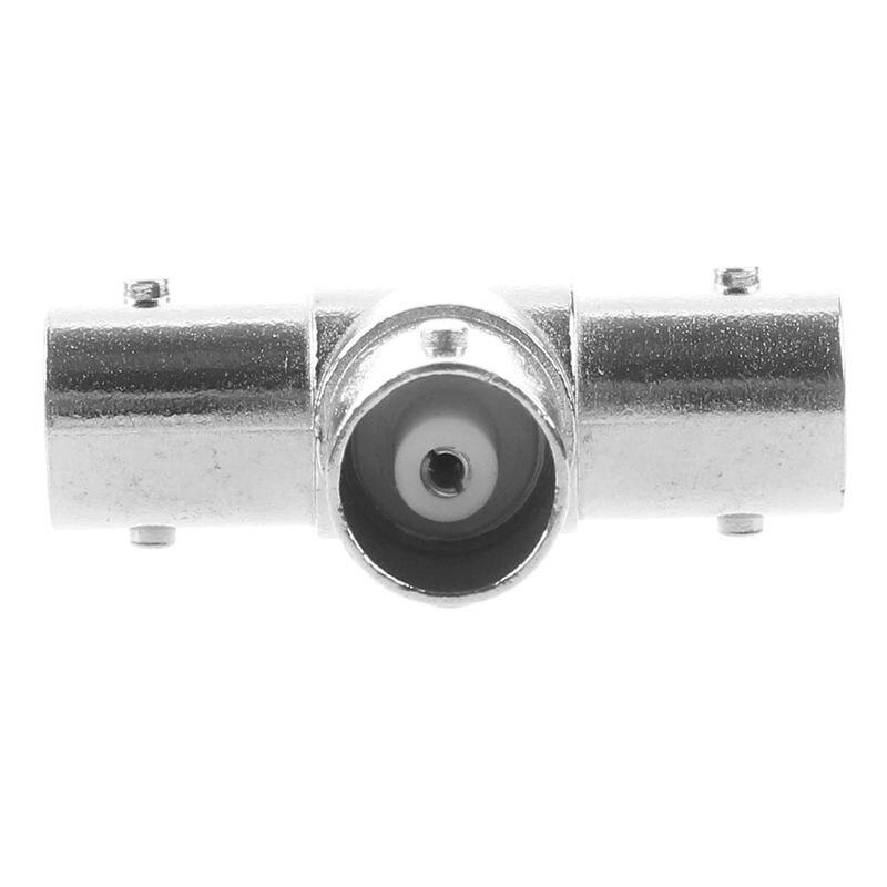 IG-Silver Triple T BNC F RF Coaxial Adapter Connector 3.2*2.1cm