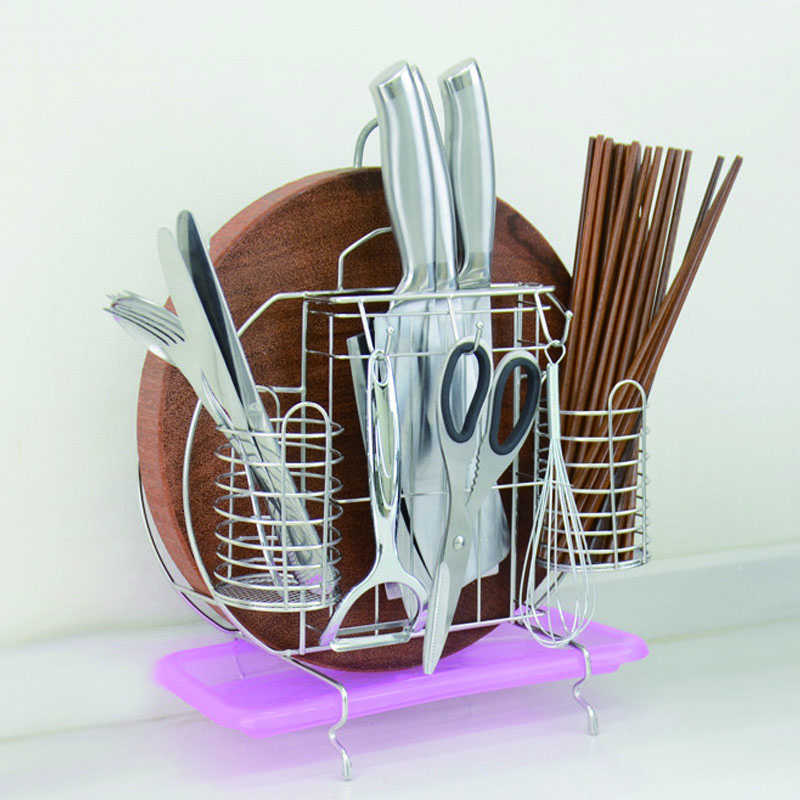 HearTogether Brand Kitchen Multifunctional Storage Rack Chopping Board Knife Holder Stainless Steel Chopsticks Cage