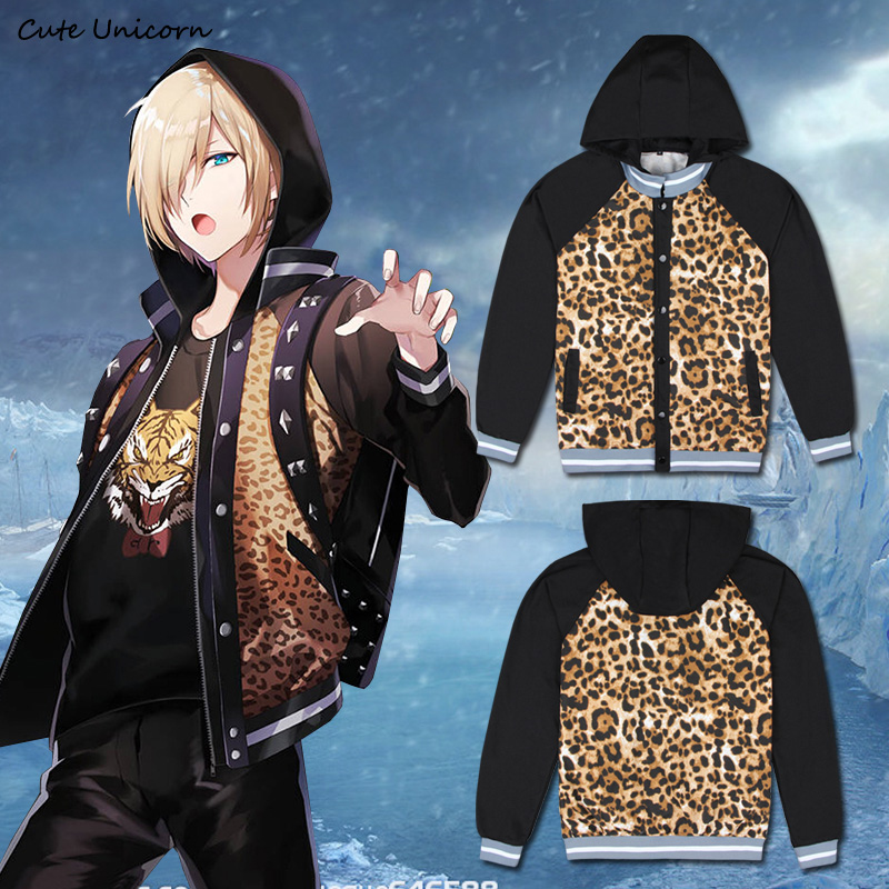 d46edd82d4a YURI on ICE Jacket Yuri Plisetsky Leopard Coat Skating Uniform Anime  Cosplay Costume mens jackets coats halloween party Hoodie