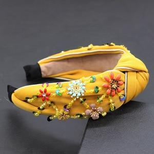 Image 4 - Bohemian fashion flowers wrapped personality dance headband Colorful crystal flower geometric metal versatile headband 865