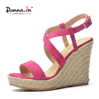 Donna In 2017 New Summer Open Toe Sandals Sheepskin Suede Rope Wedge Laides Shoes
