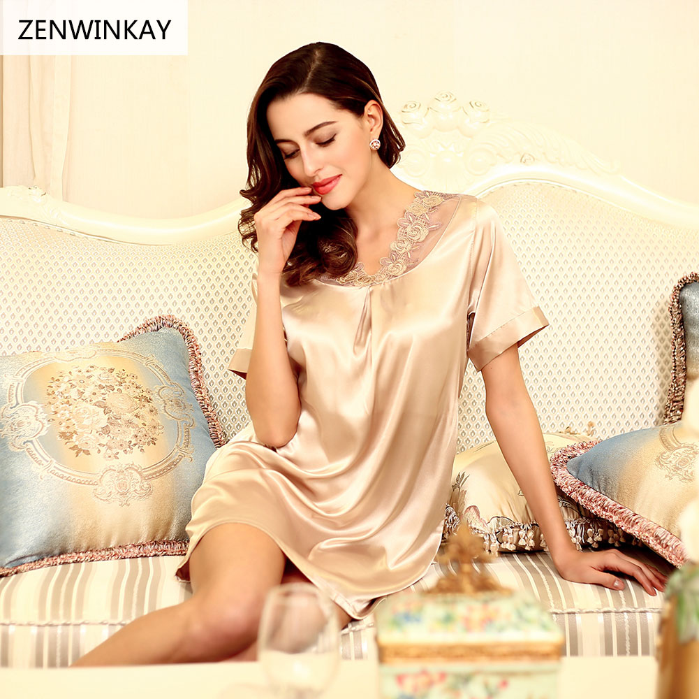 New 2017 Sexy Womens Casual Silk Chemise Nightie Lingerie Sleepwear Dress Woman Short Sleeve Nightdress Ladies Lace Nightwear