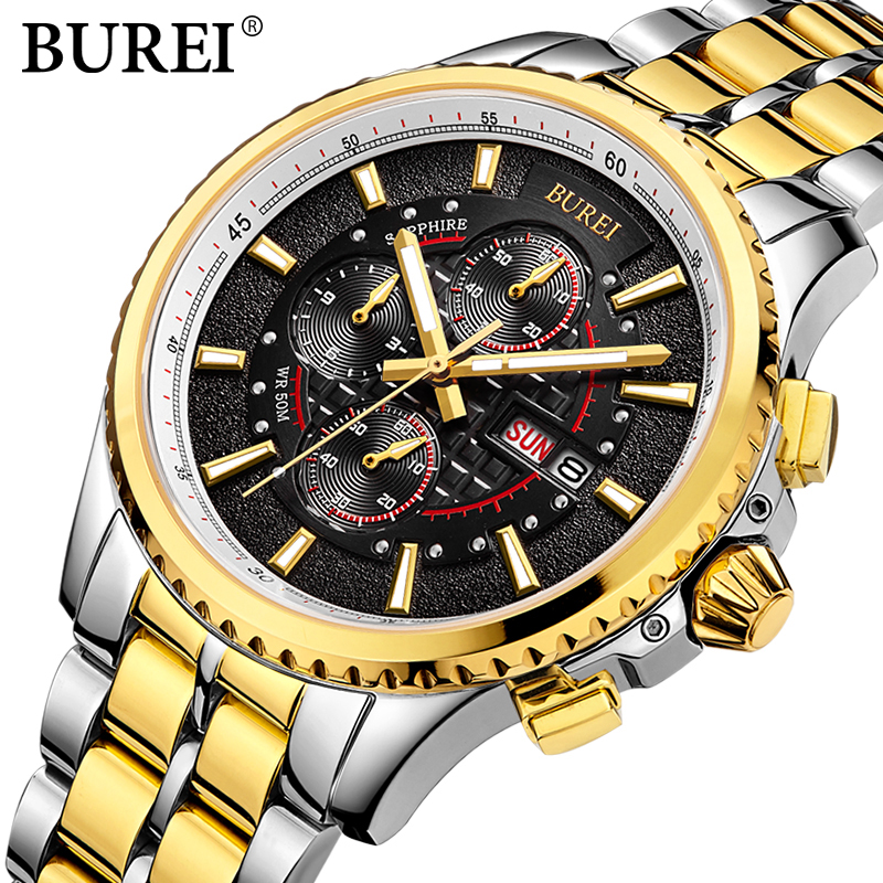 BUREI Man Multifunctional Steel casual Wristwatch Men's gold Quartz Business Watch male luminous sport clock relogio masculino 2017 new full steel automatic watch binger casual fashion wristwatch with gold calendar man business hours clock relogio reloj
