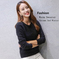 Autumn And Winter Warm Sweater Mink Cashmere shan Women Thick Long Sleeve Sweater Solid Color Versatile Sweater Knitted Bott