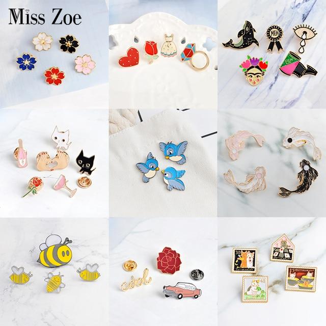 3~6pcs/set Cat rose bird koi sakura cool car Brooch Button Pins Denim lapel pin