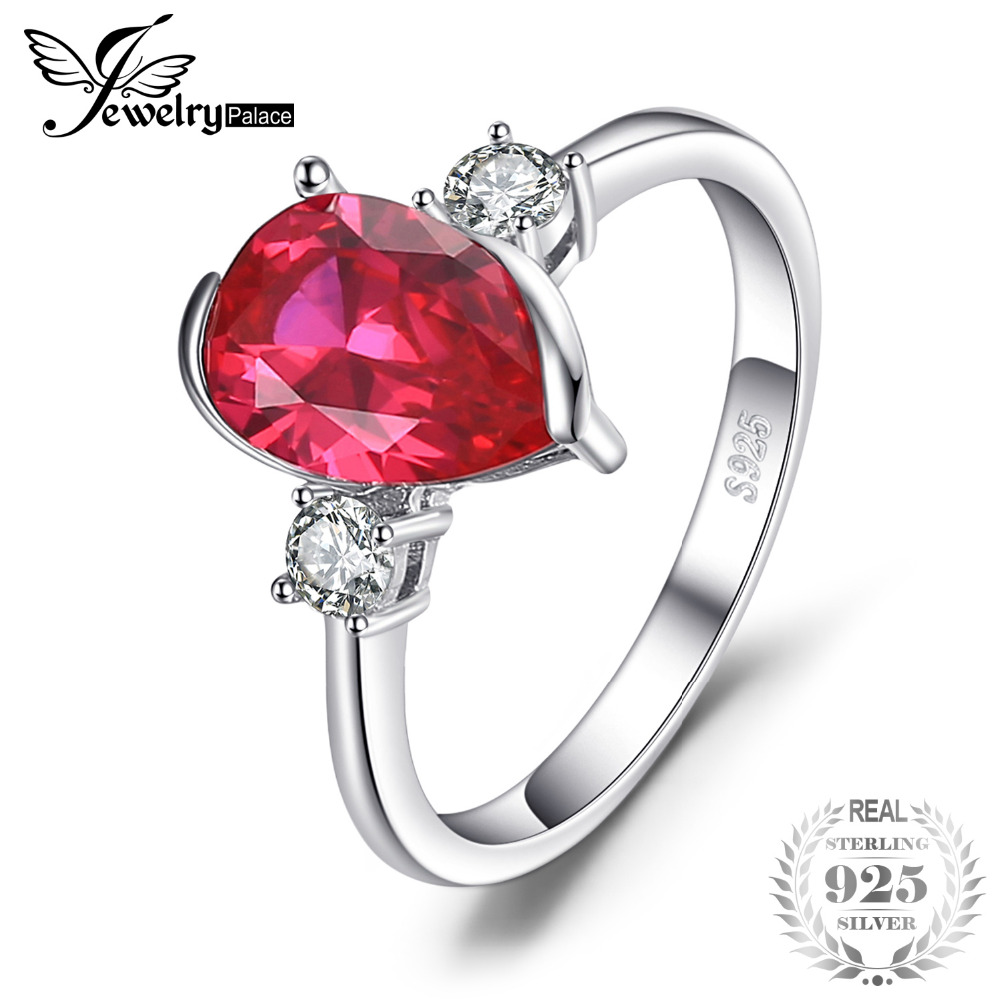 JewelryPalace Fashion 2.9ct Pear Shape Created Ruby 3 Stone Ring  925 Sterling Silver Brand New Fine Jewelry For Women giftJewelryPalace Fashion 2.9ct Pear Shape Created Ruby 3 Stone Ring  925 Sterling Silver Brand New Fine Jewelry For Women gift